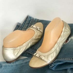 AGL Ballet Flats Cap Toe Buckles Metallic Slip-on